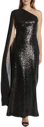 Tahari ASL One-Shoulder Gown