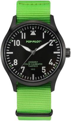 Pop Pilot Pop-Pilot Unisex HKG Quartz Watch with Black Dial Analogue Display and Green Nylon Strap