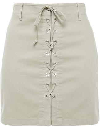 J Brand Talia Lace-up Cotton-blend Canvas Mini Skirt