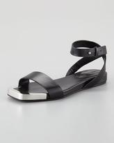 See by Chloe Metal-Toe Flat Sandal, Black