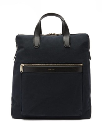Paul Smith Leather-trimmed Canvas Tote Bag - Mens - Navy