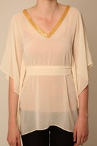 Thumbnail for your product : Little Mistress Nude Kimono Top with Gold Sequin Trim
