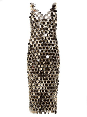 Paco Rabanne Sequinned Chainmail Dress - Womens - Silver