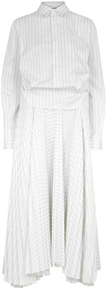 Plan C White pinstriped cotton midi dress
