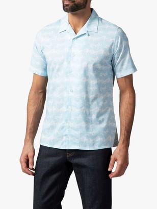 Richard James Mayfair Tropical Leaf Cuban Collar Shirt, Sky
