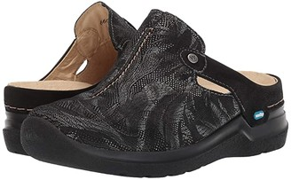 Wolky Holland (Black Antique Palm Suede) Women's Clog Shoes