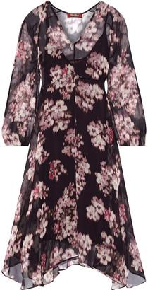 Max Mara Mogador Asymmetric Floral-print Chiffon Dress