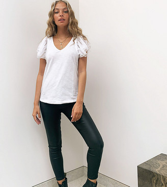 Vero Moda Petite high waisted leather look jeans in black