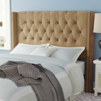 Willa Arlo Interiors Alling Upholstered Wingback Headboard Upholstery: Premier Saddle, Size: King