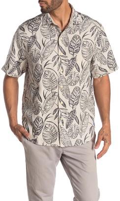 Tommy Bahama Azzano Fronds Short Sleeve Leaf Print Linen Hawaiian Shirt
