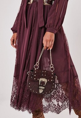 Missguided Burgundy Snake Print Western Buckle Handbag