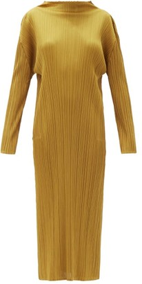 Pleats Please Issey Miyake High-neck Technical-pleated Midi Dress - Dark Yellow