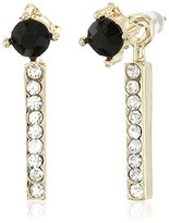 Jessica Simpson Antique Gold/Crystal/Jet Petite Rectangle and Circle Stud Earrings