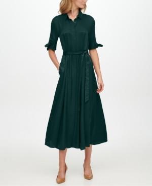 Calvin Klein Tie-Sleeve Jacquard Shirtdress