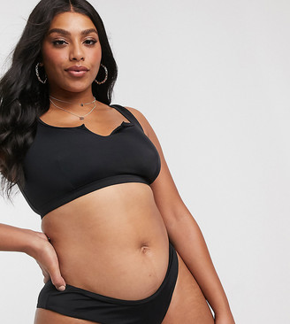 ASOS DESIGN recycled curve mix and match hipster bikini bottom in black