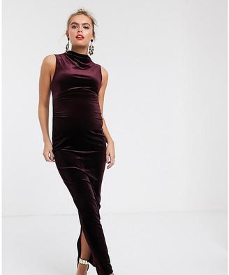 Asos DESIGN Maternity high neck velvet midi dress-Purple
