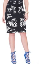 ELOQUII Plus Size Graphic Overlay Floral Skirt