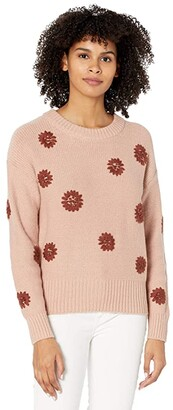 Madewell Flower Embroidered Pullover Sweater (Dusty Blush) Women's Clothing