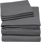 Utopia Bedding 4-Piece Queen Bed Sheet Set - Soft Brushed Microfiber Wrinkle Fade and Stain Resistant - Grey
