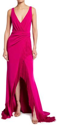 Badgley Mischka V-Neck Sleeveless High-Low Fringe Gown