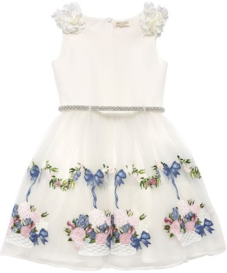 MonnaLisa EMBROIDERED TULLE & CREPE DRESS