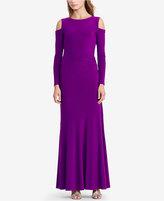 Lauren Ralph Lauren Cutout-Shoulder Jersey Gown