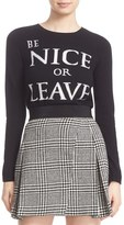 Alice + Olivia 'Be Nice or Leave' Embellished Wool Crewneck Sweater