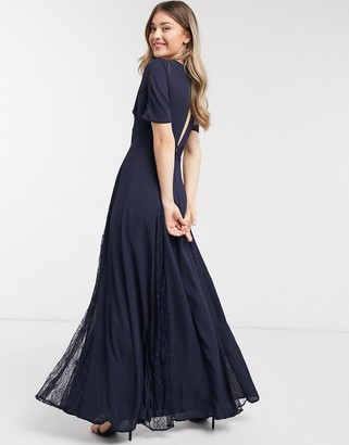 ASOS DESIGN Bridesmaid maxi dress with lace insert panels