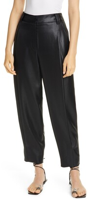 Tibi Celia Sculpted Tapered High Waist Crop Faux Leather Pants