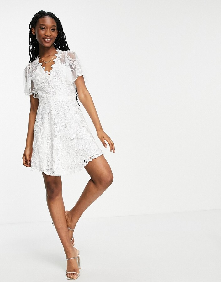 Thumbnail for your product : Forever U lace overlay mini dress in white