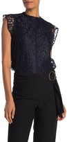 High Neck Cap Sleeve Lace Top