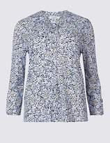 Classic Burnout Print Notch Neck 3/4 Sleeve Shirt
