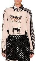 Stella McCartney Stripe-Trim Dog-Print Silk Blouse, White
