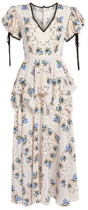 Rodarte Floral Peplum Midi Dress