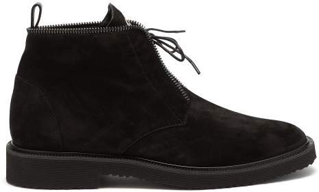Giuseppe Zanotti Suede Lace Up Boots - Mens - Black
