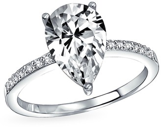 Bling Jewelry Sterling Silver Pear CZ Solitaire Engagement Ring