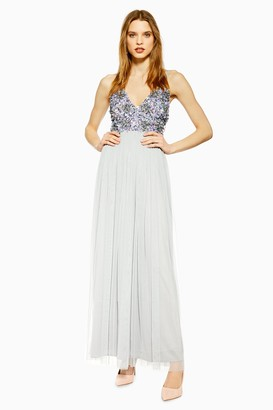 Lace & Beads Womens **Grey Embellished Maxi Dress By Grey