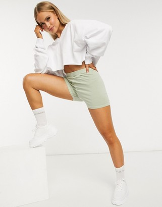 ASOS DESIGN oversized cropped sweatshirt with v neck in white