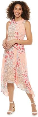 Chaps Petite Print Handkerchief-Hem Midi Dress