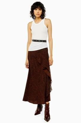 Topshop Womens Idol Brown Leopard Print Maxi Skirt - Brown