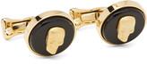 Alexander McQueen Skull Enamelled Gold-Tone Cufflinks