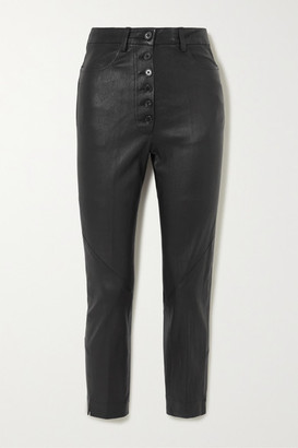 Ann Demeulemeester Cropped Lace-up Leather Skinny Pants - Black