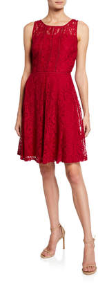 Taylor Sleeveless Floral Lace A-line Dress