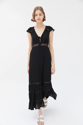 Urban Outfitters Ely Lace Inset Button-Front Midi Dress