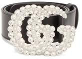 Gucci Crystal-gg Buckle Leather Belt - Womens - Black