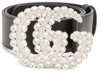 Gucci GG Crystal-embellished Leather Belt - Black