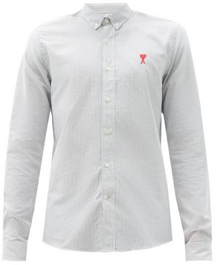 Thumbnail for your product : Ami Logo-embroidered Striped Cotton-poplin Shirt - Black White