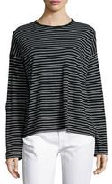 Vince Relaxed Long-Sleeve Crewneck T-Shirt, Black/White Stripes