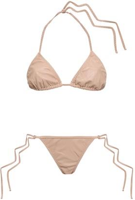 Adriana Degreas Faux Leather Triangle Bikini