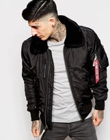Alpha Industries Bomber Jacket With Faux-fur Collar - Black